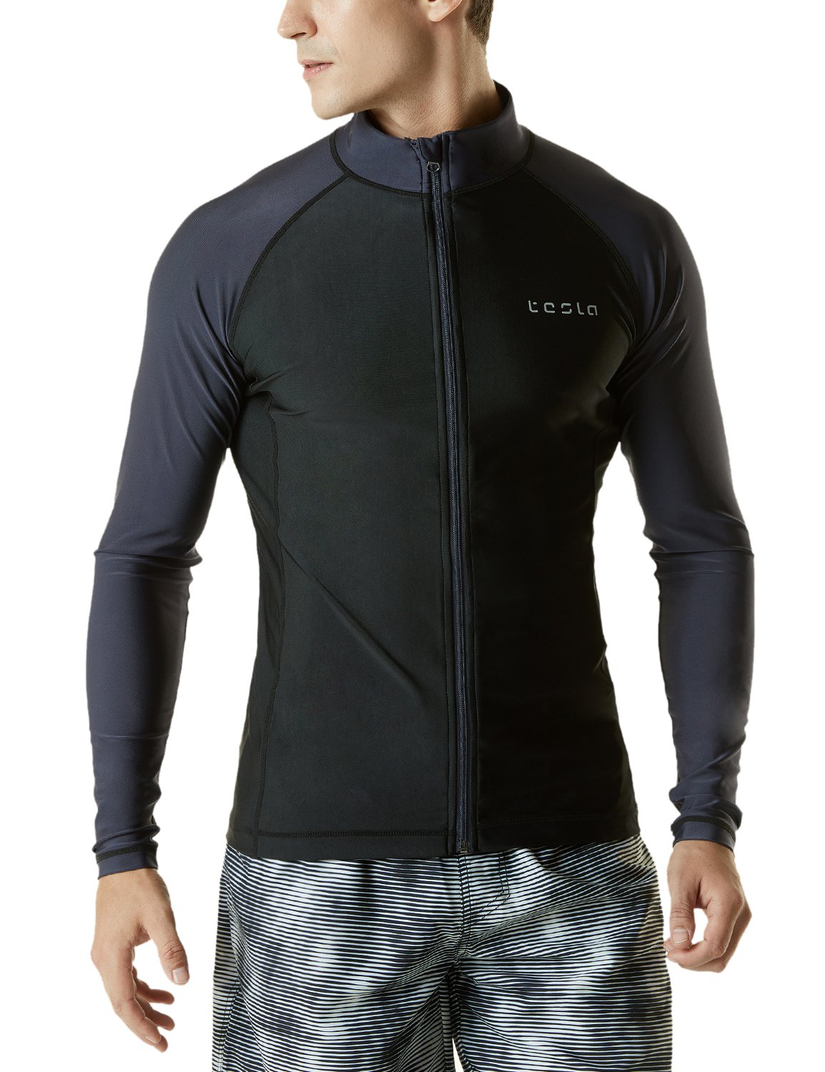 Tesla TM-MSZ03-KDG_Medium Men's UPF 50+ Zip Front Long Sleeve Top Rashguard Swimsuit MSZ03