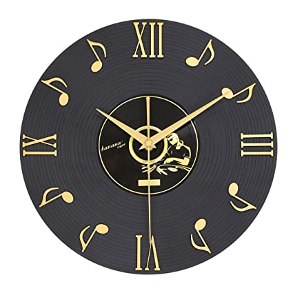 CIGERA 12 Inch Musical Note Wall Clock With Vinyl CD Dial Plate And 3D  Roman Numerals