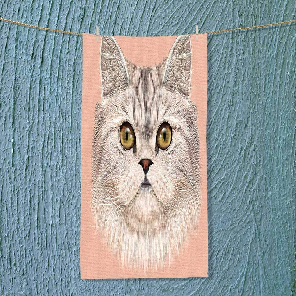 SOCOMIMI Fast Dry Towel Kitty Portrait Whiskers Best Pet Animal I Love My Feline Themed Artwork Beige Excellent Water Absorbent Antistatic