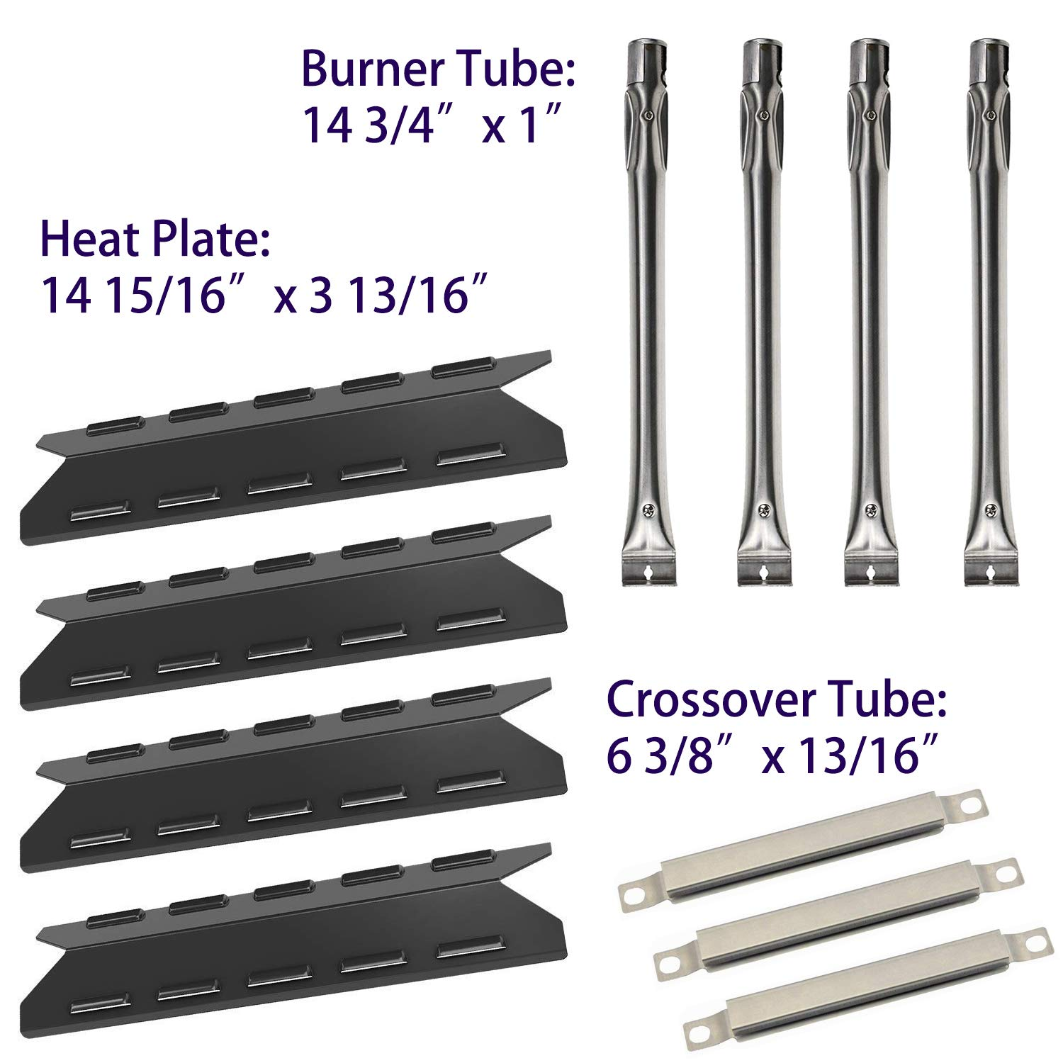 BBQ-Element Grill Heat Plate Tent Shield, Pipe Burner Tubes and Crossover Tube Replacement Kit for Kenmore 146.47223610, 146.46372610, 146.46365610, 146.46366610 Models. by BBQ-Element