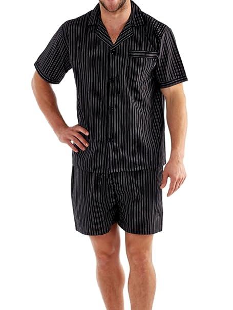 para Hombre Pantalones Cortos Pijama Pijamas Lighweight Poly algodón Pijama Pantalones Cortos – M – XXL
