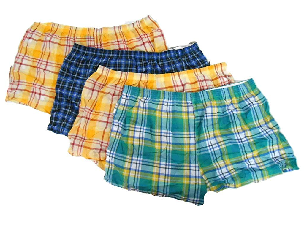 Fruit of the Loom Mens 4-pack Big Man Boxers Tartan Plaid Sizes 2XB-5XB