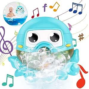 Gifort Máquina de Burbujas de Baño, Juguete de Baño de Burbujascon 42 Música Infantil para Niños Pequeños, Ideales Burbuja de Baño Juguetes para Niños