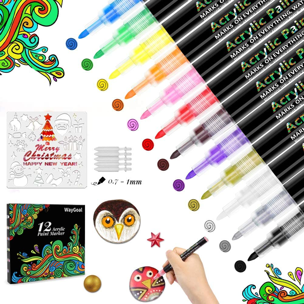 Wood WayGoal 12 Colours Waterproof Acrylic Pens Set 0.7mm Fine Tip Paint Markers for Stone Canvas Painting Porcelain DIY Mug Fabric Glass Ceramic Acrylic Paint Pens for Rock Painting