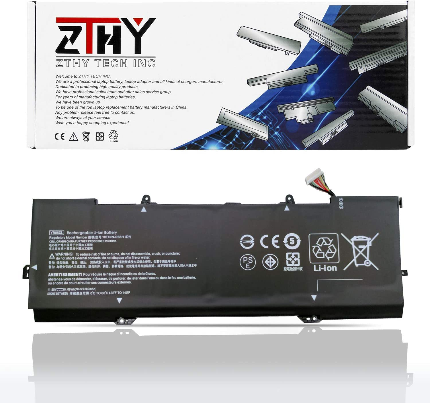 ZTHY YB06XL Laptop Battery Compatible with HP Spectre X360 15t-CH000 15-CH000 CH000NA CH011NR CH001TX CH015ND CH034NG CH005NG CH011DX CH004NA CH009NG CH006NG CH032NG Series 84.08Wh 11.55V 6Cell