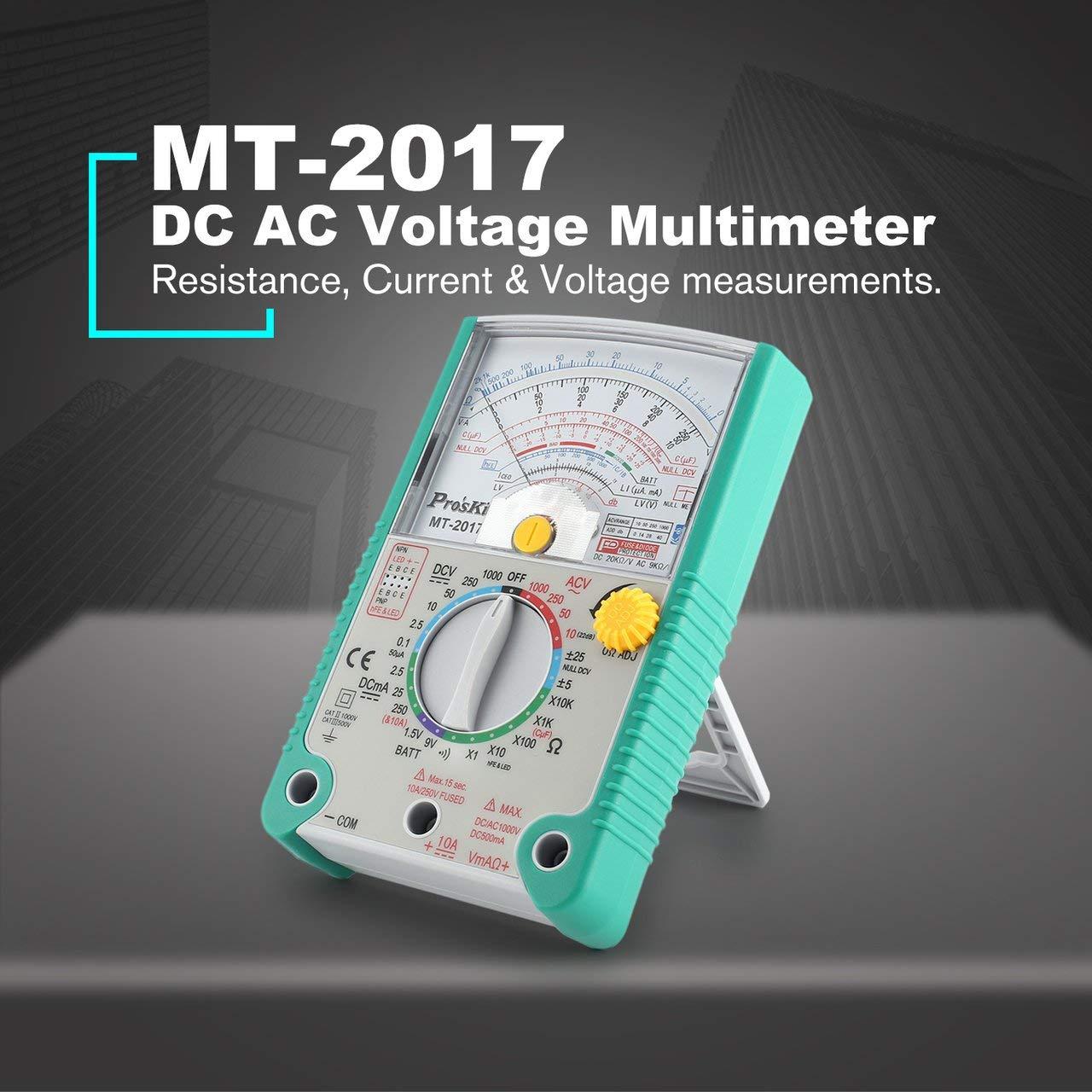 Jasnyfall Proskit Mt-2017 Multim/ètre Multim/ètre Pointer Ac//Dc Analogique R/ésistance Vert