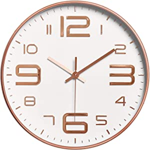 Foxtop Modern Wall Clock, 12 inch Silent Non-Ticking Quartz Decorative Battery Operated Wall Clock for Living Room Home Office School (Rose Gold)