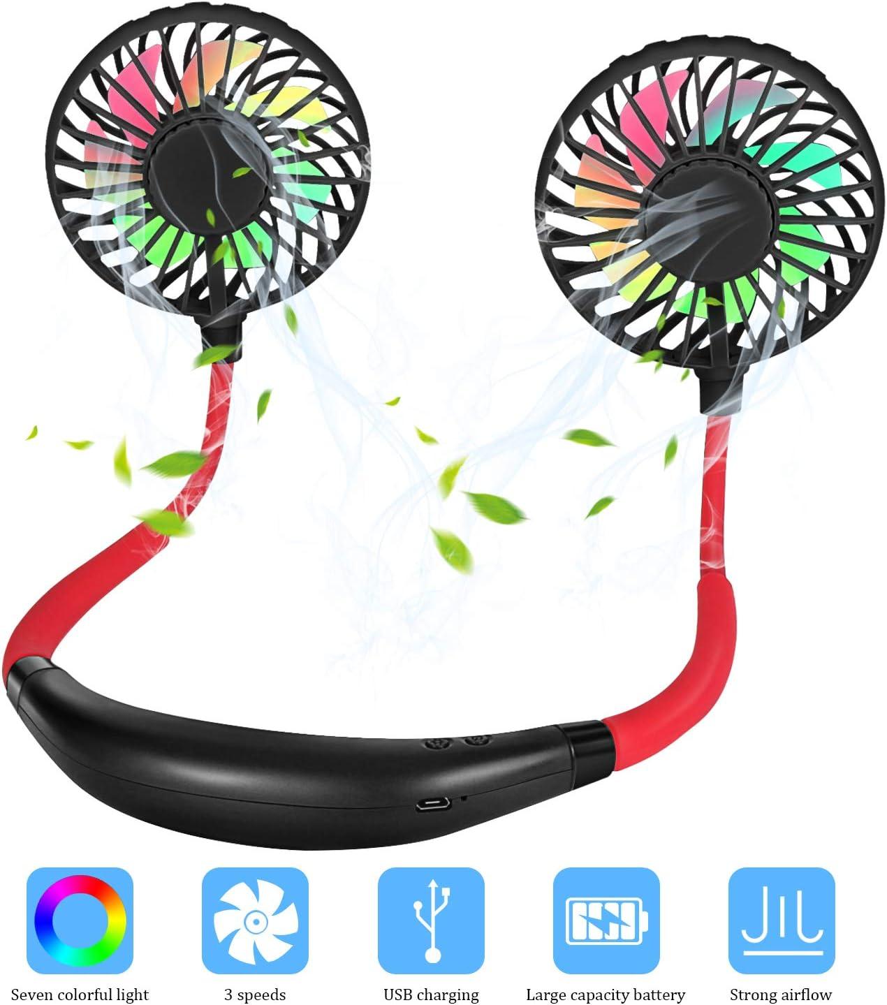 Redmoo Ventilador USB para el Cuello Manos Libres Recargable portátil 2 Cabezas Ajustables, 3 velocidades de Viento, Ventilador USB para oficinas al Aire Libre Negro ...