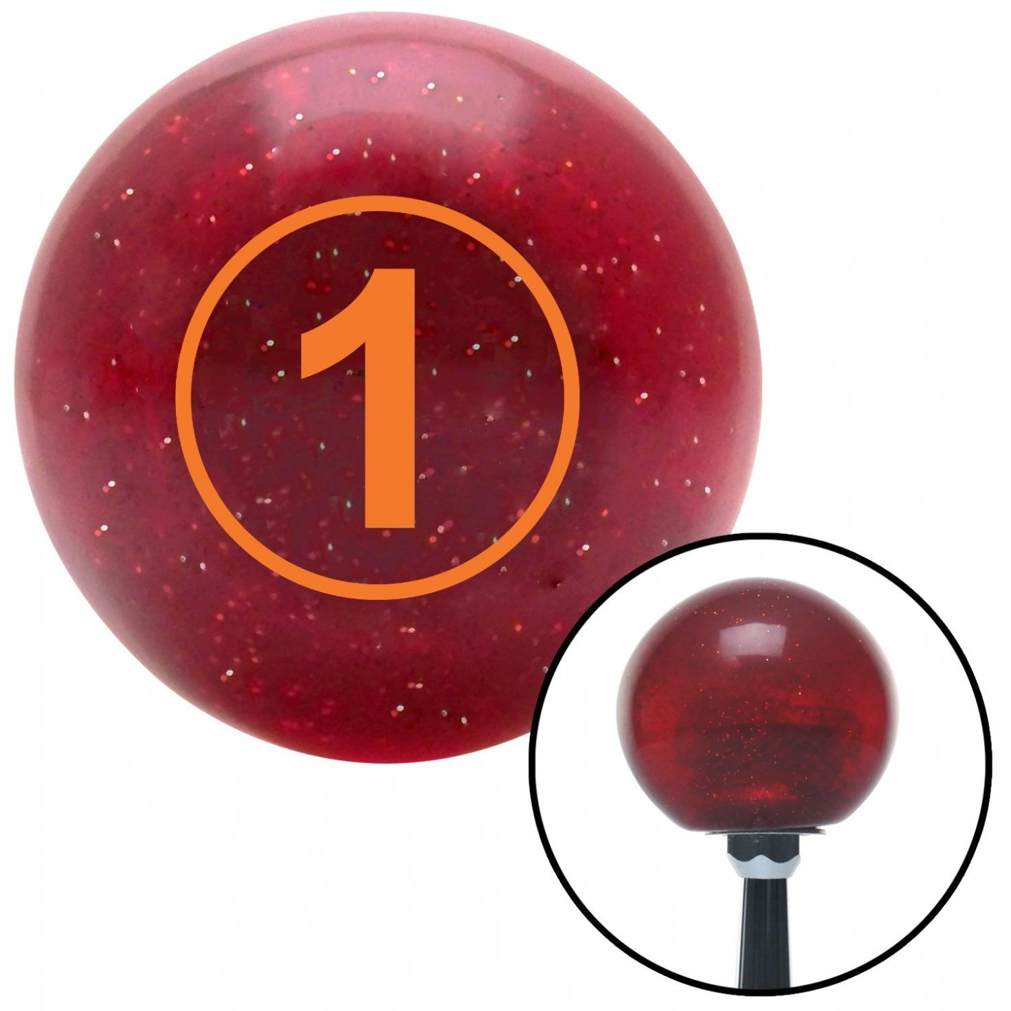 Orange Ball #1 American Shifter 47405 Red Metal Flake Shift Knob with 16mm x 1.5 Insert
