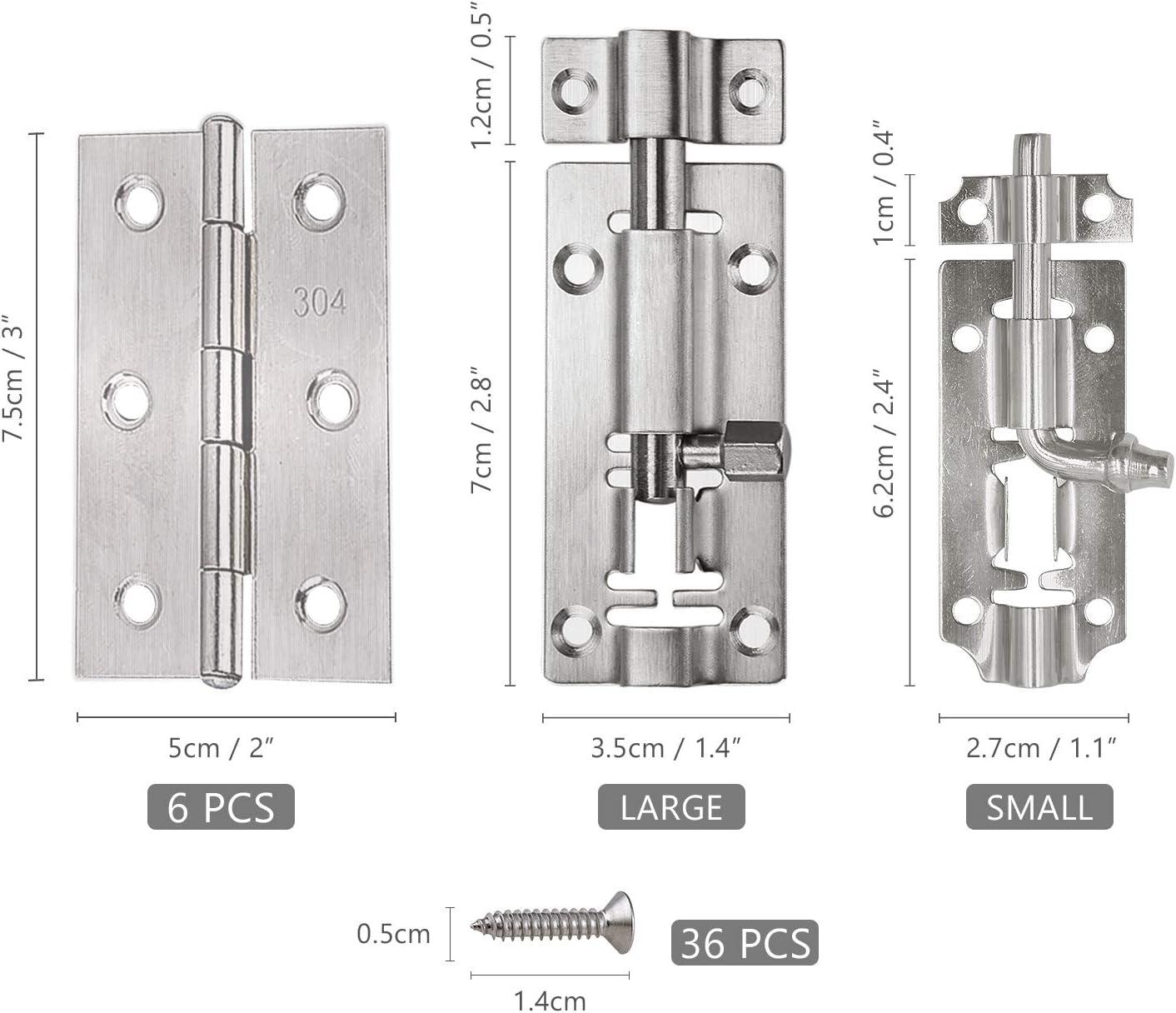 10 bisagras de acero inoxidable de 5 cm con 75 tornillos de acero inoxidable acero inoxidable 5 cierres deslizantes de 5 cm