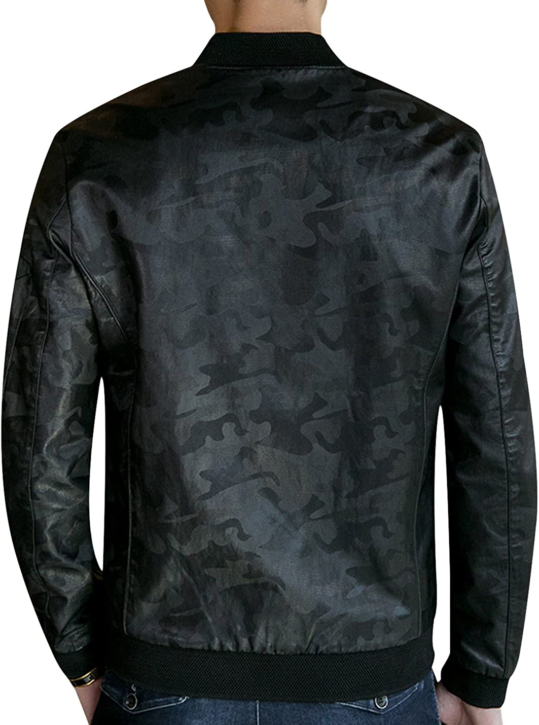 Tanming Mens Camo Print Faux Leather Jacket Outerwear