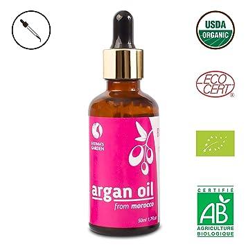 Fatimas Garden Aceite de argán para la cara, el cabello, la piel y las uñas. Loción hidratante antienvejecimiento marroquí con aceite puro y virgen ...