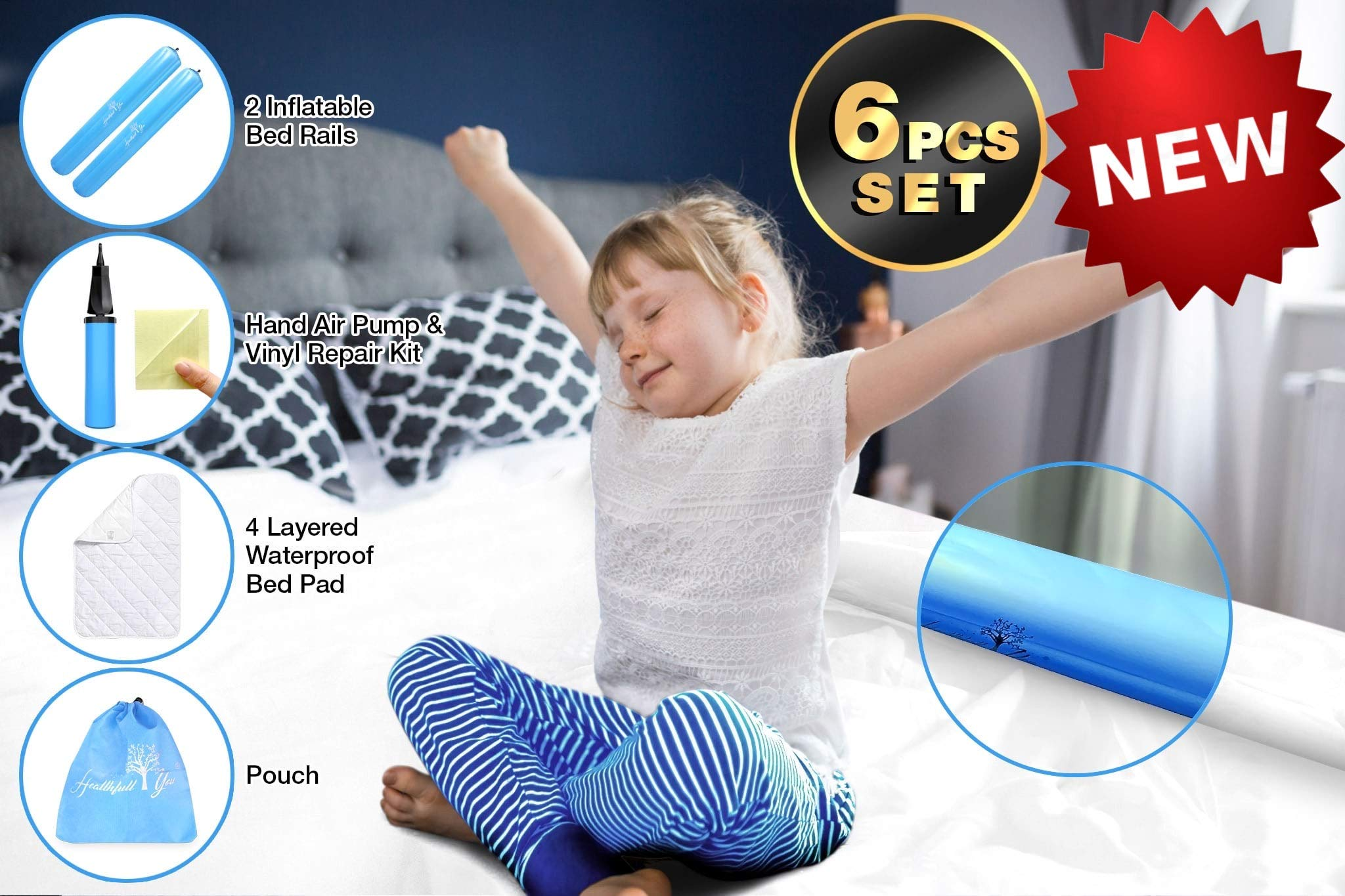 Our Toddler Bed Rail Guard is The Perfect Bed Bumpers for Toddlers. The Inflatable Bed Rail Twin Pack is Available in Pink or Blue Ensuring Both You and Your Precious One Have A Good Night's Sleep