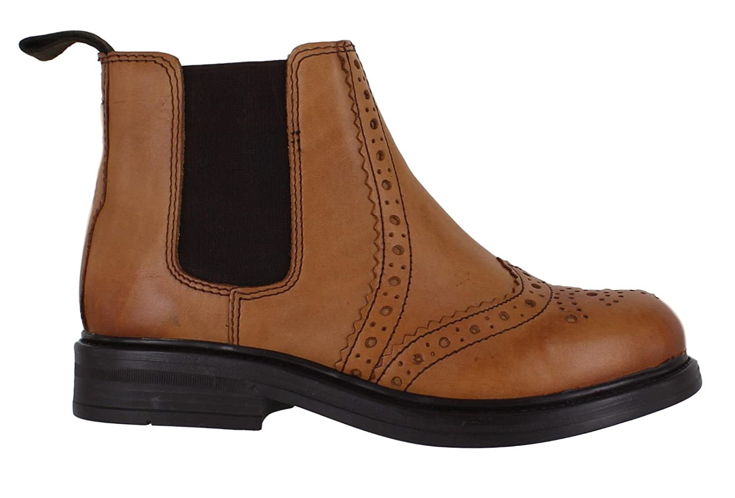 ea8d1041b688b Catesby Boys Junior Infants Leather Dealer Pull On Brogue Chelsea Boots   Amazon.co.uk  Shoes   Bags