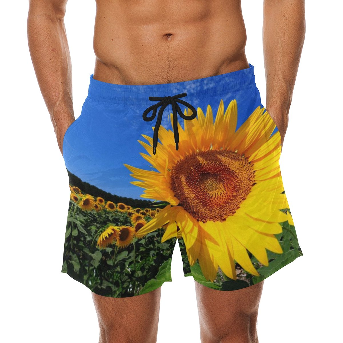 efdda1eccf50f LORVIES Men's Bright Summer Sunflower Beach Board Shorts Quick Dry Swim  Trunk | Amazon.com