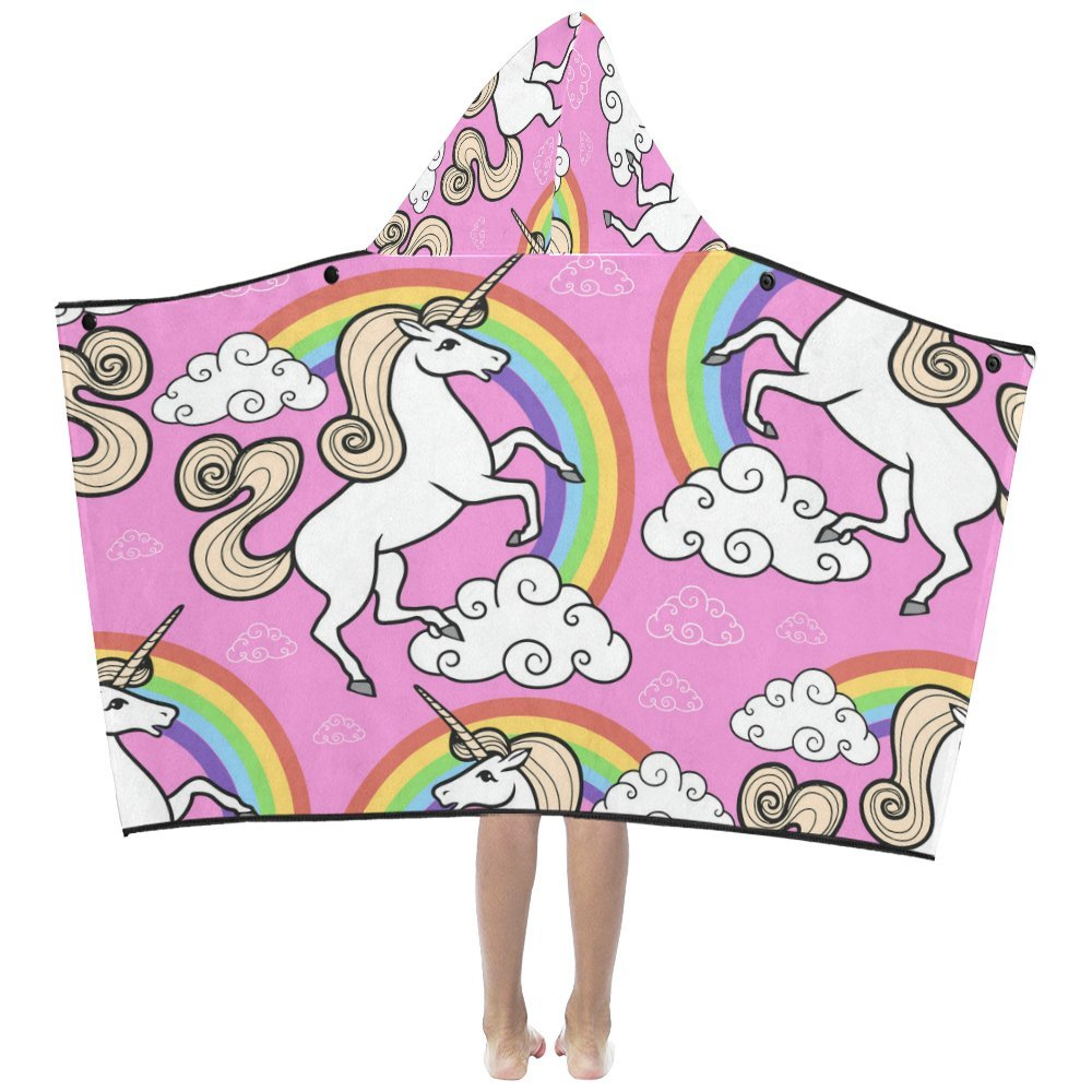 Artsadd Unique Debora Custom Hooded Bath Towels Soft Warm Lightweight for Kids with Unicorn With Rainbow And Clouds by Artsadd