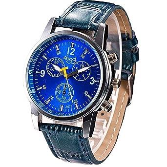 Angelof Montre Homme Bracelet Luxe ConnectéE Montre Ado Garcon Montre Quartz Montre Bracelet Cuir (Bleu