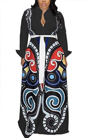 5b2f4472a6b VLUNT Women s Elegant Floral Print Button Down Maxi Dress A Line Flowy Long  Party Dress