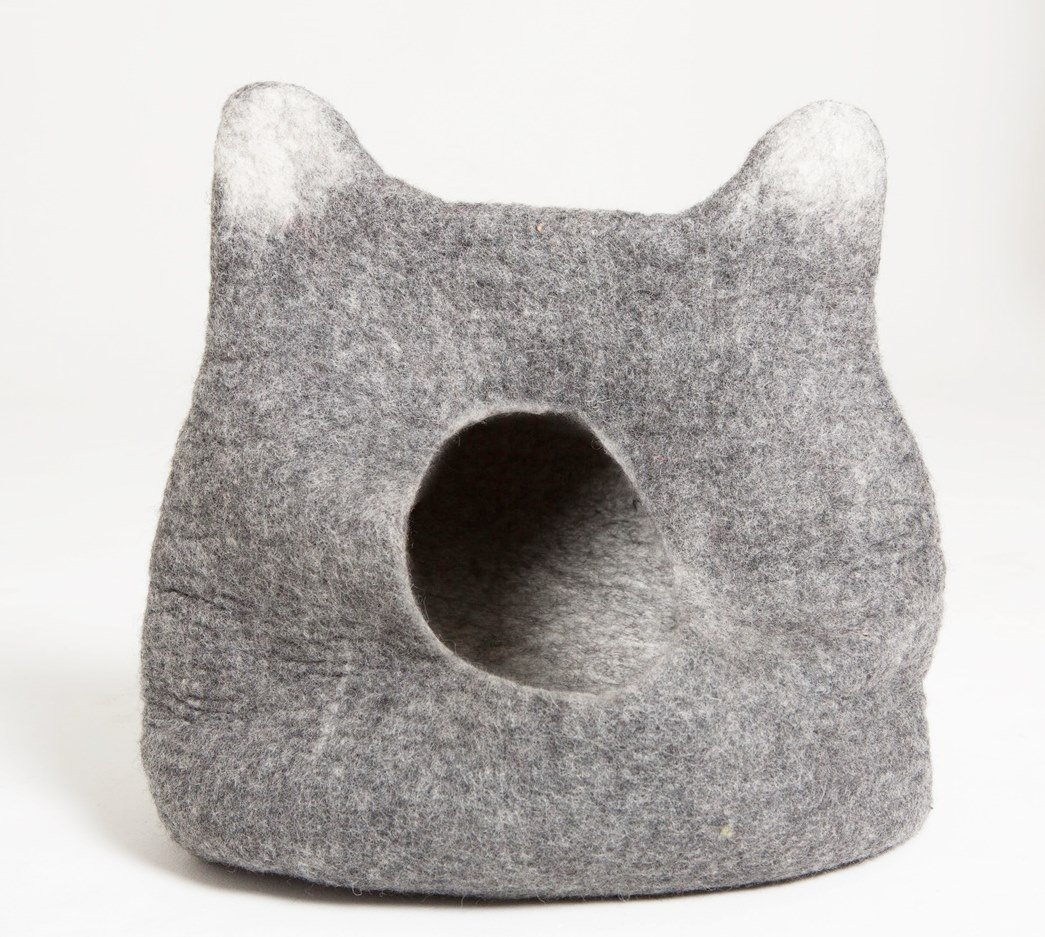 Gaia Guy Natural Felted Wood Cat Cave Bed - Cat Head Design (Large)