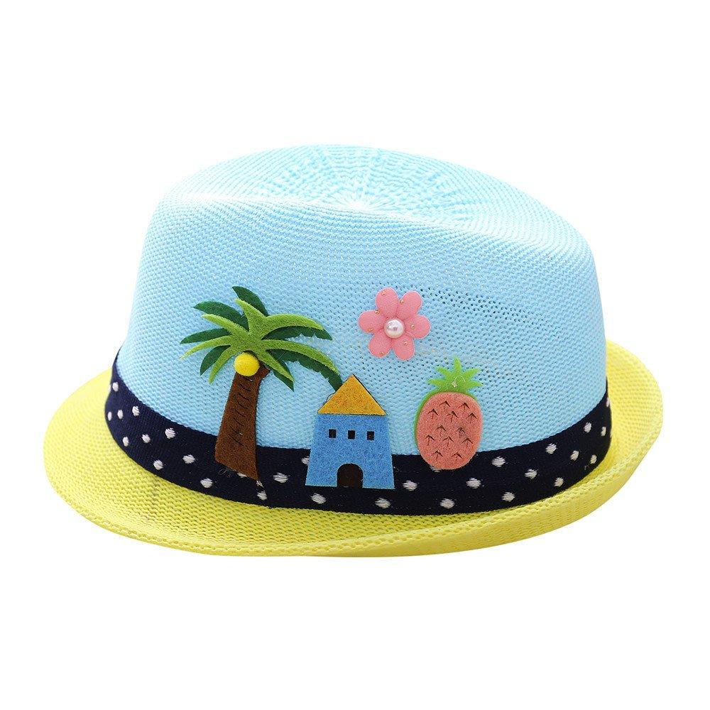 Sombrero de Bordado de Letra Árbol de Coco para Fiesta Ceremonia Bebé Gorras de Jazz Niñas Niños Sombrero de Rendimiento Respirable Gorras para Espectáculo ❤️Lonshell Amarillo)