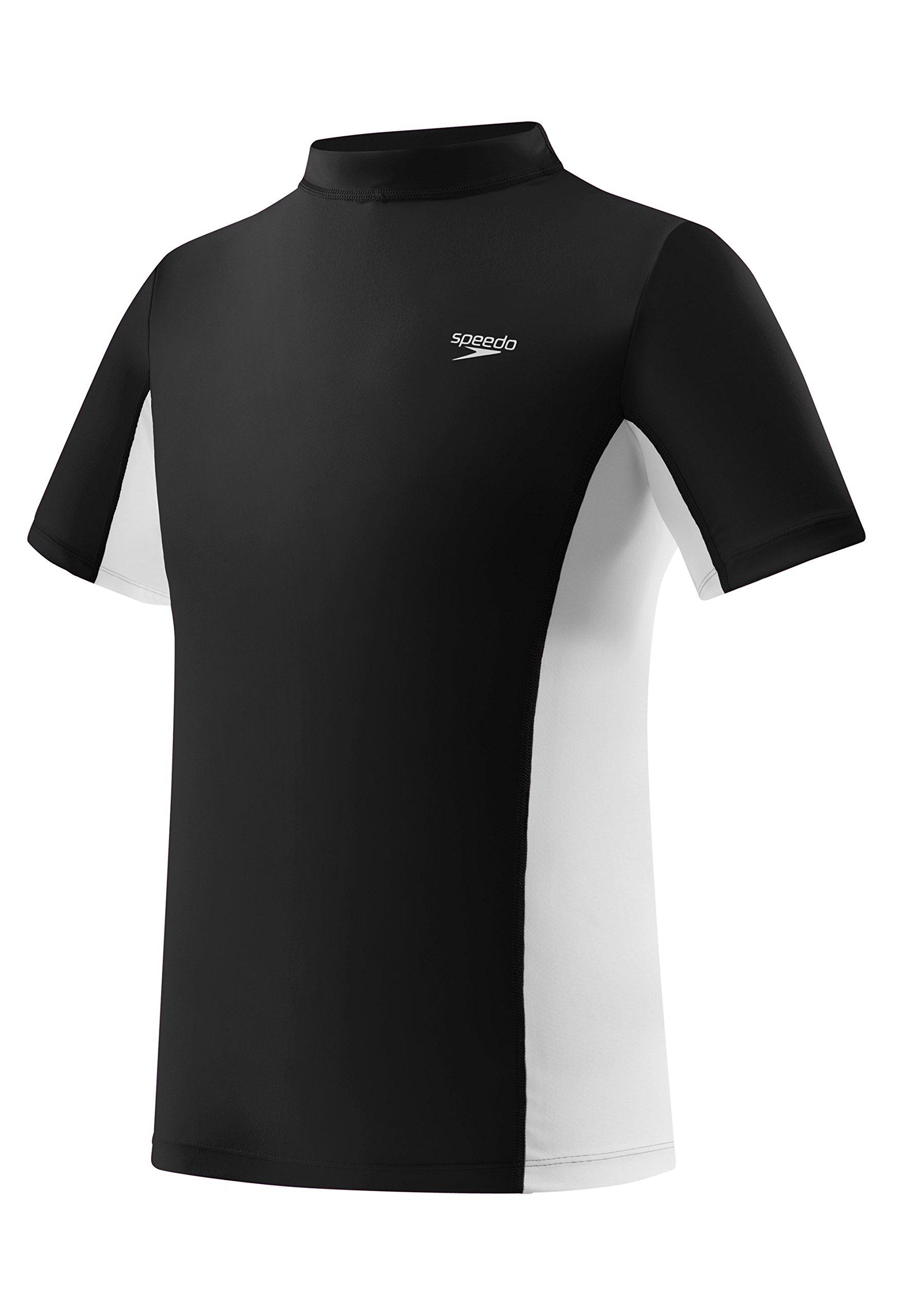 Speedo Big Boys' UV 50 Plus Short Sleeve Rashguard, Black, Small by Speedo
