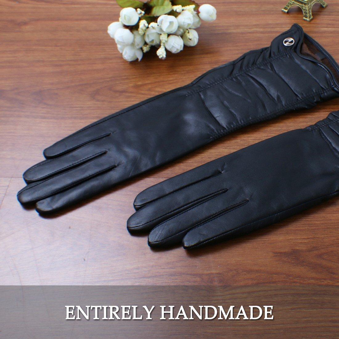 Nappaglo Women Winter Warm Italian Lambskin Leather Gloves//Long Fleece Lining