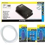 Precision 7500 Aquarium Air Pump Kit Airline Check Valve and Airstone Aqua One