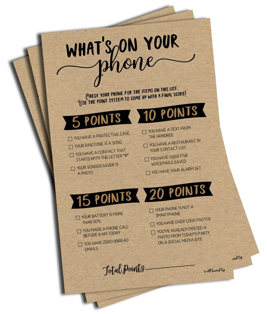 What's On Your Phone - Kraft (50-Sheets) Any Occasion (Large Size Sheets) Rustic Bridal Shower Baby Shower Birthday Party