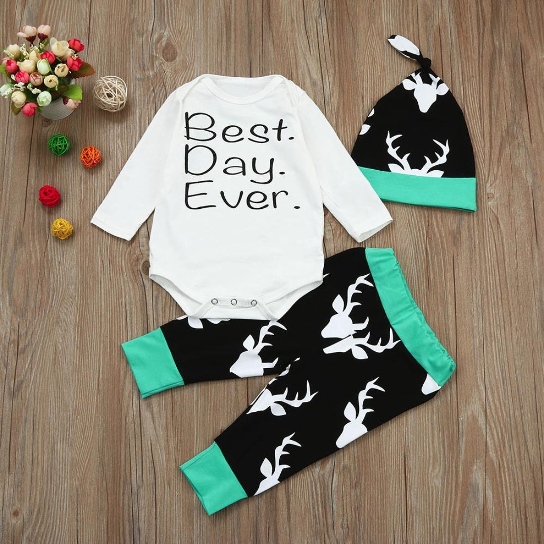 For 0-18 Months Baby,DIGOOD Xmas Toddlers Newborn Baby Boys Girls Letter Romper+Deer Pants+Hat 3Pcs Outfits Clothes