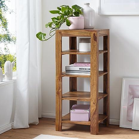 FineBuy Standregal Massiv-Holz Sheesham 105 cm Wohnzimmer-Regal mit 4  Ablagefächer Design Landhaus-Stil Beistelltisch Natur-Produkt  Wohnzimmermöbel ...