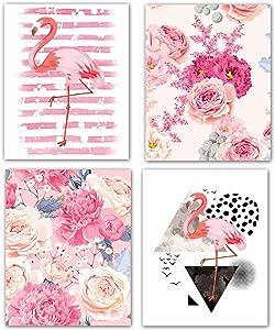 Modern Art Pink Flower Flamingo Wall Decor Art Prints Stripe Wall Art Set Of 4 Tropical Wall Decor for Girl Room Bedroom Office Wall Decoration Frameless (8x10)