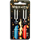 2 Red and Light Blue Saber Shaped Space Keys Kwikset KW1 KW10