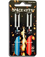 "Pair of Red and Light Blue Saber Shaped ""Space Weapon"" Keys - Kwikset KW1 KW10"