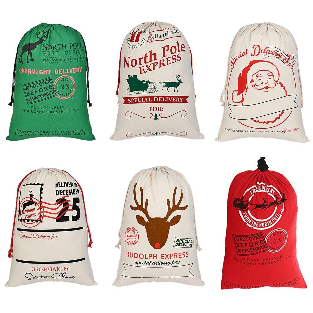 熱望卸売クリスマスの巨大なキャンバスのドローストリングバッグ再利用可能な食料品の買い物袋のギフトの貯蔵 - 色込  色込 B074V3P1LB