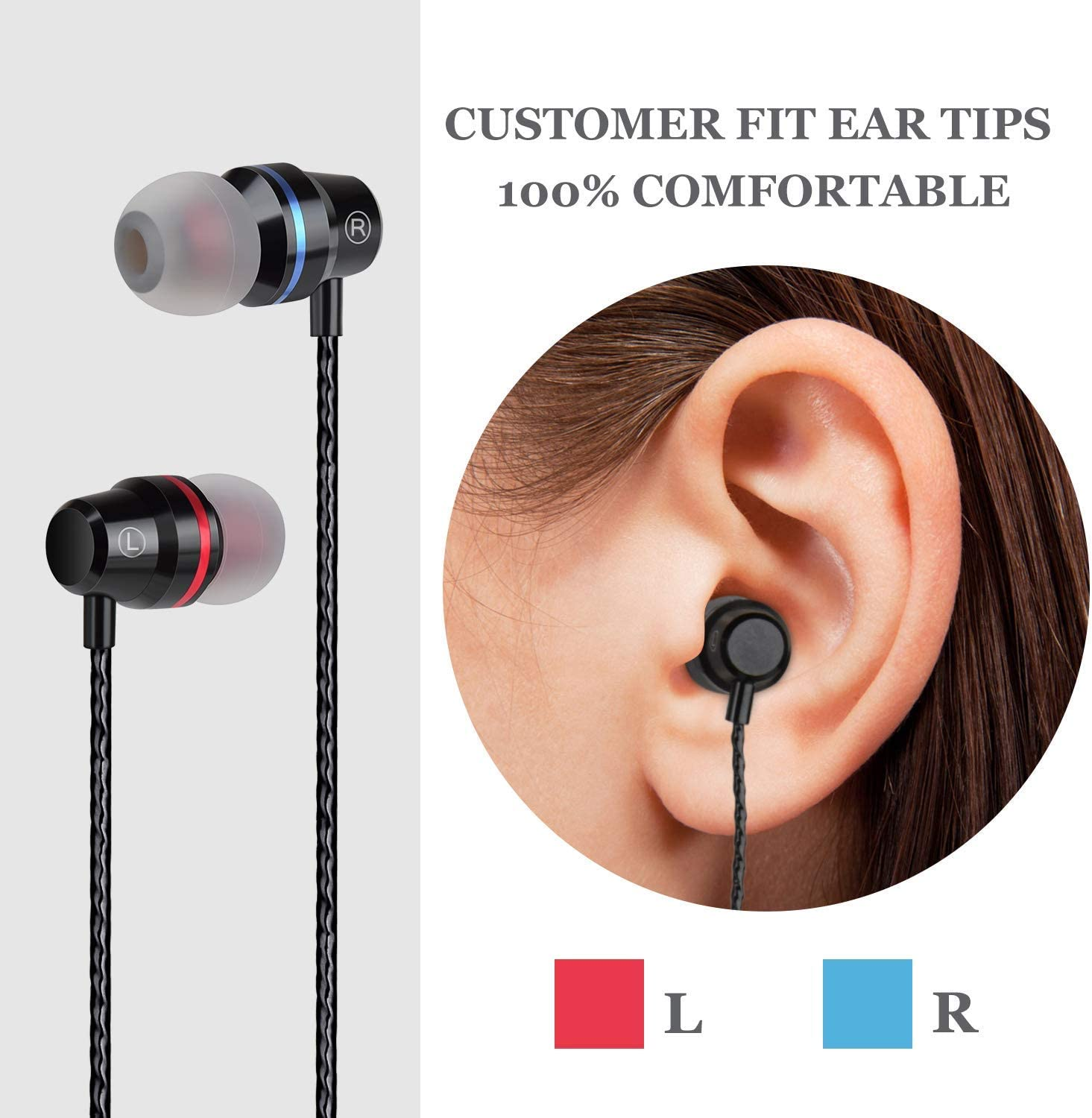 RUYIKING Earbuds Stereo Mini Headset with Mic Charging Case Mini Outdoor Portable Earphones Compatible with Most Smartphones White 020