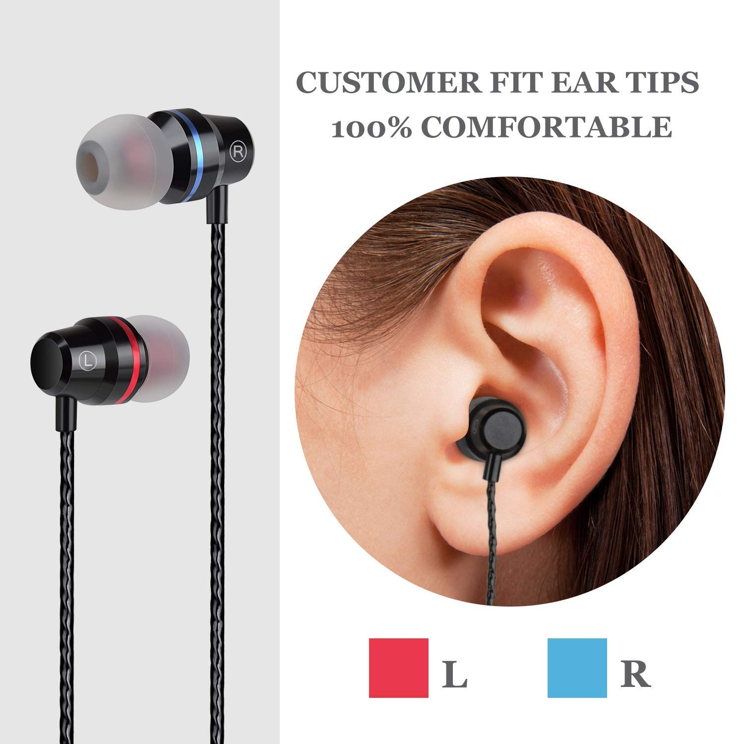 BDKING Bluetooth Headphones, Wireless Earbuds Stereo in-Ear Earphones with 2 Wireless Built-in Mic Headphone and Charging Case
