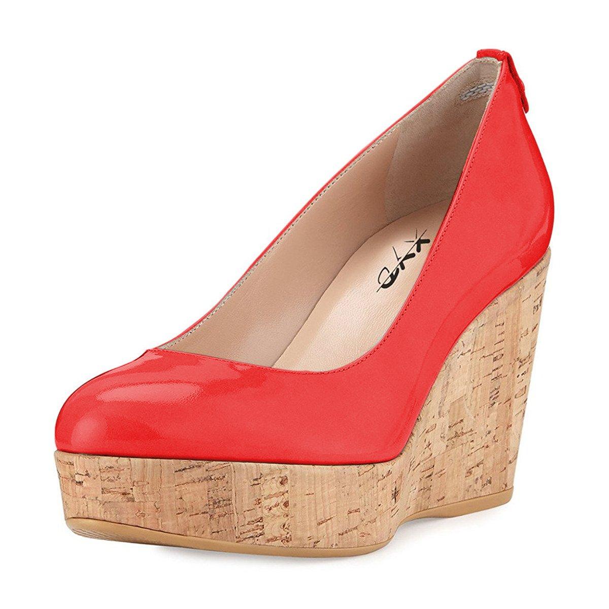 d7c393fc332 XYD Women Comfort Round Toe Platform Pumps Slip On Patent Wedge Cork High  Heel Shoes