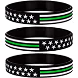 Sainstone Army Thin Green Line American Power Eagle Silicone Bracelets with American Flag Border Patrol Agents Marine Corps Wristbands Gifts for U.S Military Police Army U.S