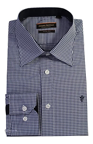 9aa6b98595ed8 Jacques Valmont Men s Long Sleeve Button Down Shirt with Fashion design  Rome Style Slim Fit - Blue (Size S) at Amazon Men s Clothing store