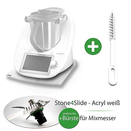 Stone 4slide Thermomix gleiter Deslizante Tabla acrílico Blanco + Mix Cuchilla de Cepillo