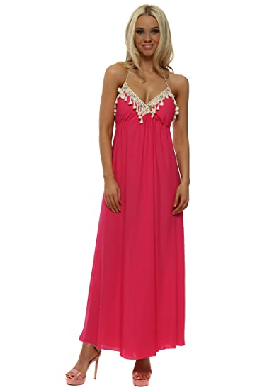 1e4e2d16ca1 Laurie   Joe Hot Pink Backless Halterneck Tassle Maxi Dress One Size Pink