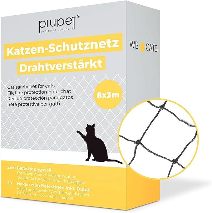 PiuPet® - Red para Gatos Reforzada con Alambre, para balcón y Ventana, Incluye Set de fijación, Red para Balcones para Gatos, Color Negro (8 x 3 m)
