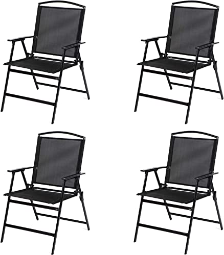 Bylring Patio Folding Sling Dining Chairs Portable Outdoor Indoor Backrest Chairs for Lawn Garden Balcony Pool Yard W Armrest Set of 4 Folding Patio Sets Black