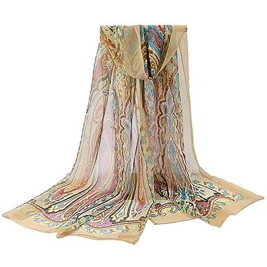 f82a5bb37c2f YiyiLai Echarpe Foulard Imprimé Femme Tulle Protection de Soleil pour Plage  Voyage Casual Souple Beige