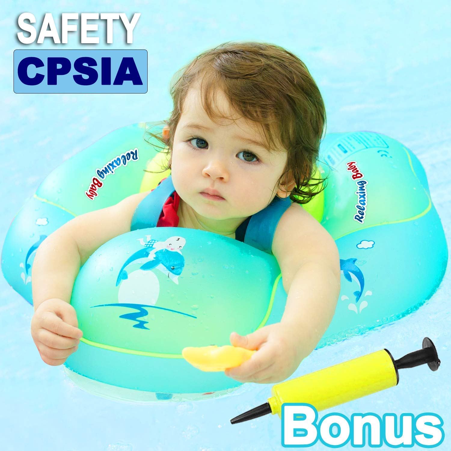 Baby Pool Float【Upgrade】Baby Swimming Float Ring with Safety Seat Crotch Strap and Adjustable Waist Strap Swim Trainer Age of 3-30 Months 11-35 lb Baby Floats Summer Outdoor Beach Water Fun Pools Toy