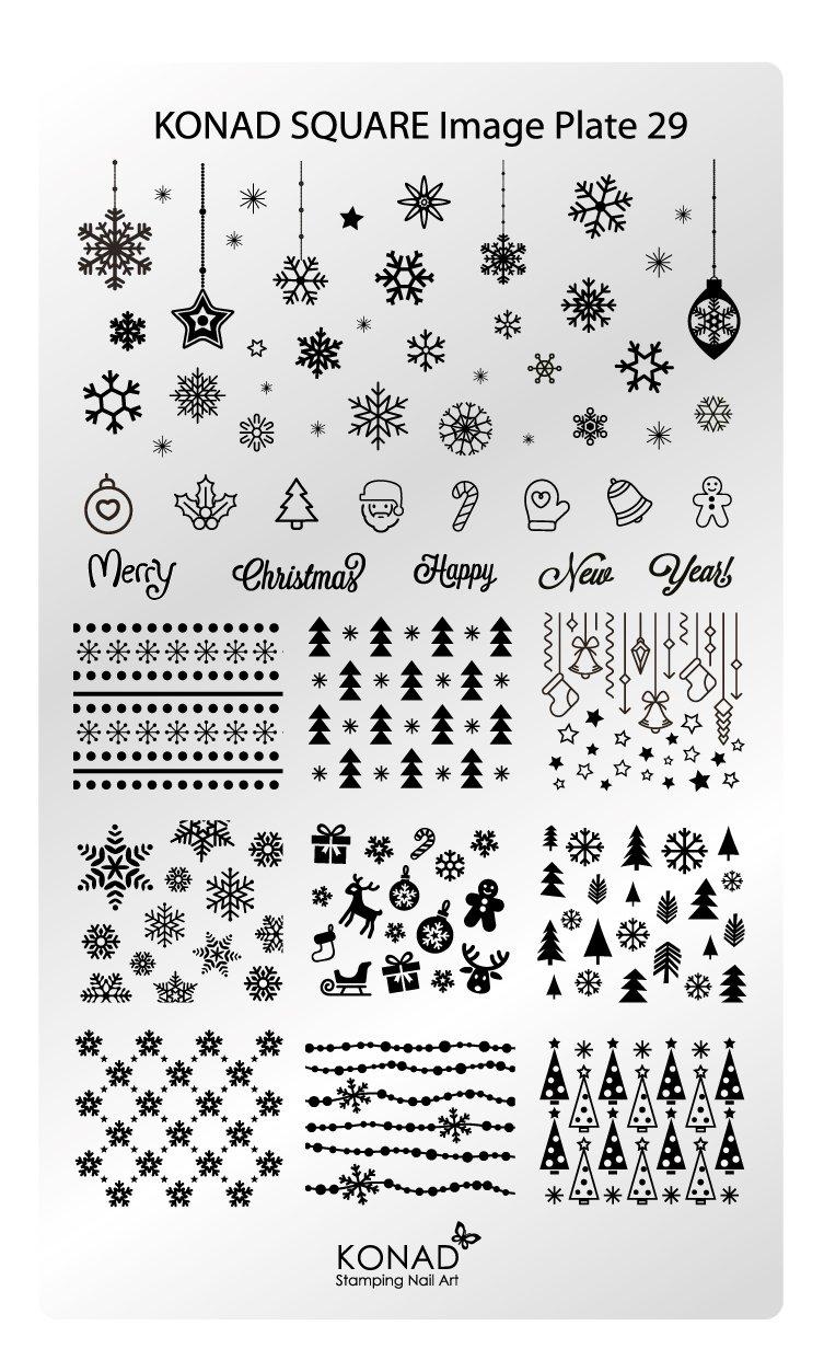 Original KONAD Stamping Square Image Schablone Plate 29 Nailart Weihnachten X-mas Eisblume Nicolaus Schnee Winter RM Beautynails