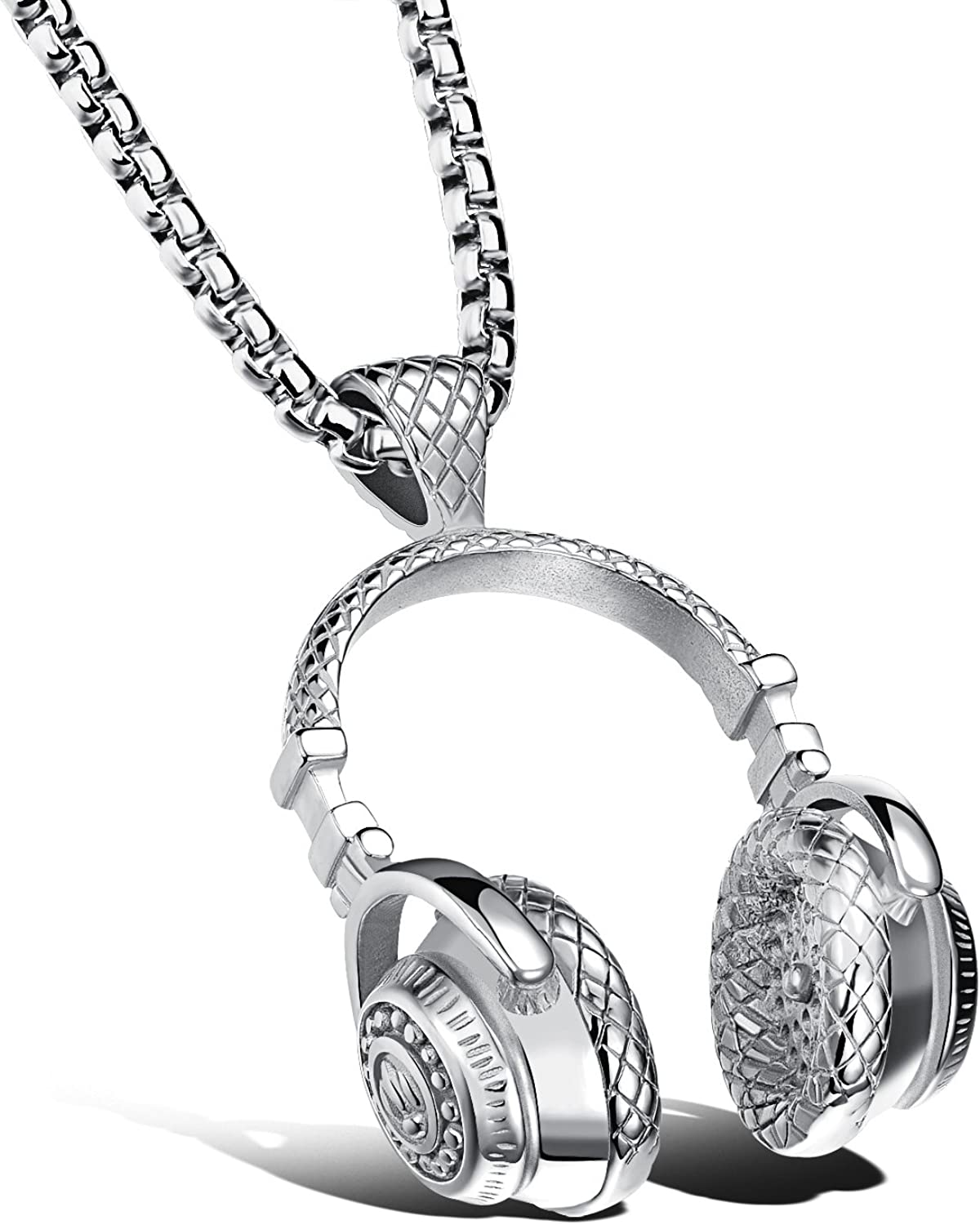 FCZDQ 316L Stainless Steel Mens Music Headset Pendant Necklace