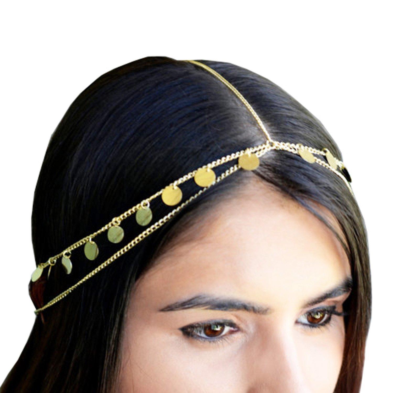Legitta Damen Haarschmuck Haarband mit Paillette Charm Layered Kette aus Metalllegierung EA Direct EA0075-DE