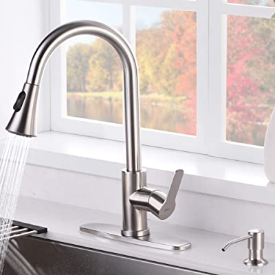 Buy Amazing Force Pull Down Kitchen Faucet With Soap Dispenser Brushed Nickel Kitchen Sink Faucet With Spray Single Handle Kitchen Faucet Utility Sink Online In Germany B08hyqnkgh