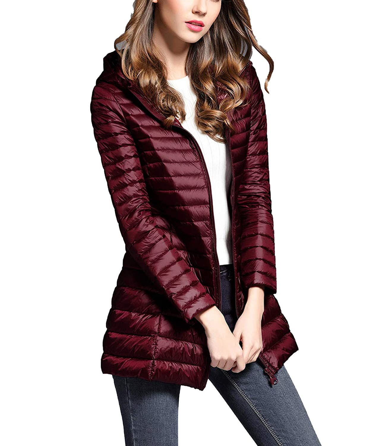 Burgundy Women's Spring Hooded White Duck Jacket Down Light Woman Coat Jackets Portable Coat Parkas